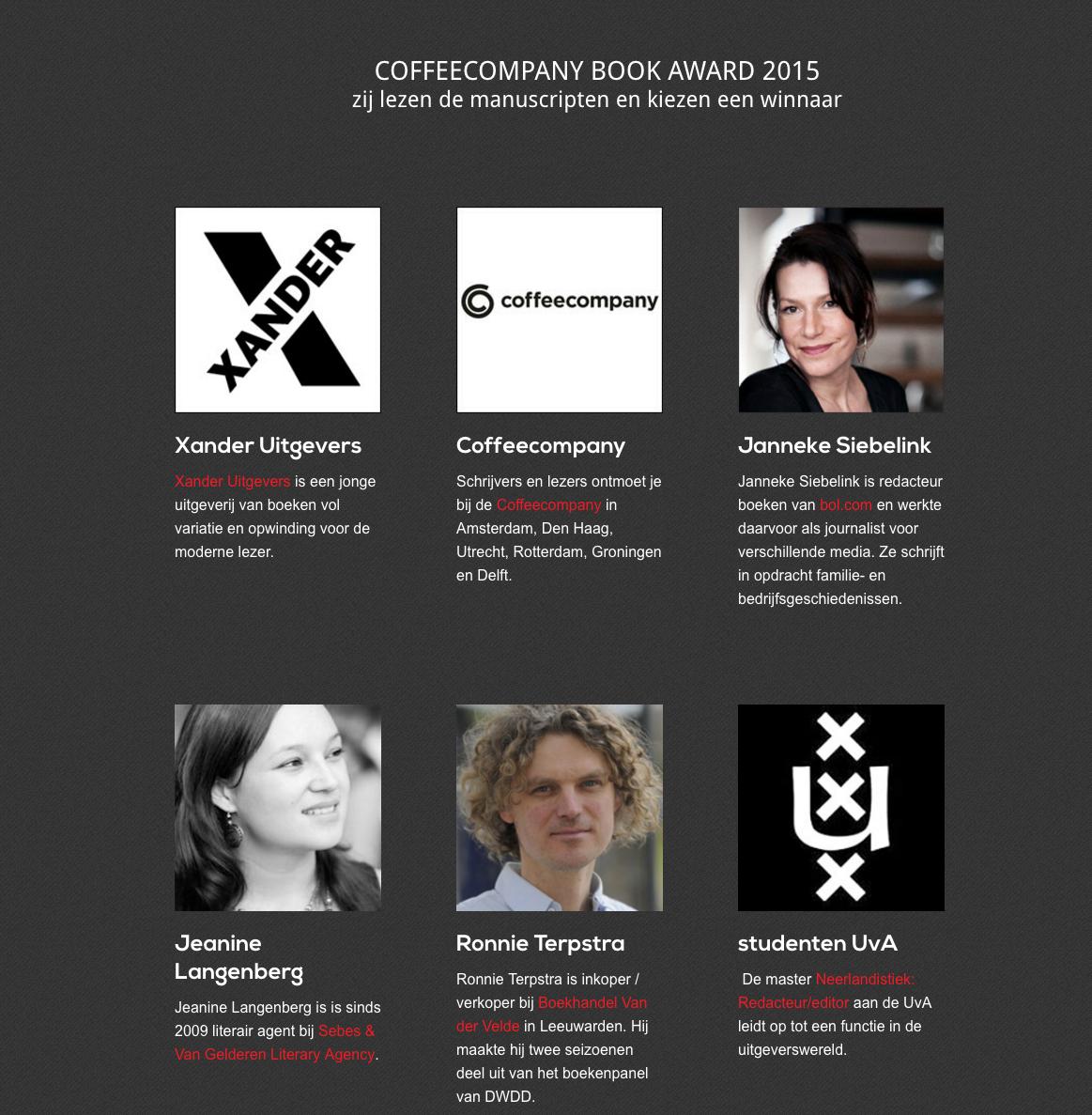 Shortlist Coffeecompany Book Award